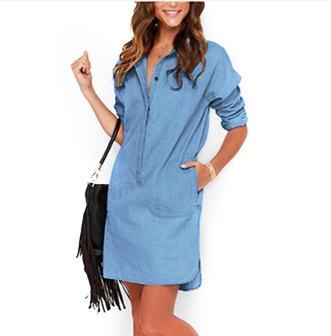 Women Denim Fashion Dress -Women Dress