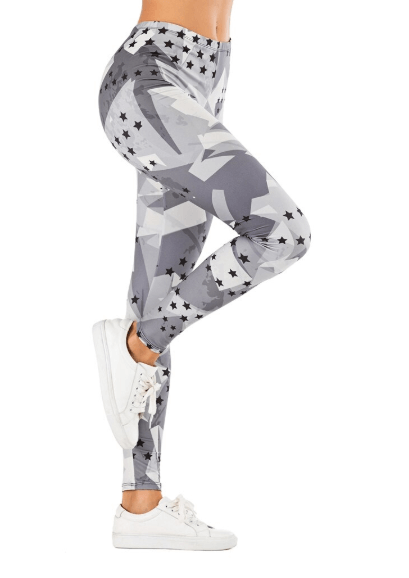 Women Gray Stars Printing Leggings -women leggings