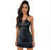 Women Leather V-Neck Dress