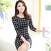 Women Long Sleeve Plaid Dress