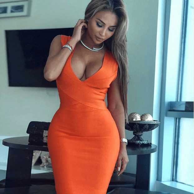 Women Orange Deep V Neck Dress -Women Dress