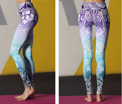 Women Purple Blue Ombre Leggings