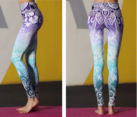 Women Purple Blue Ombre Leggings -Yoga Pants