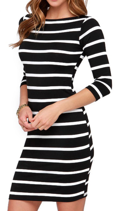 Women Round Neck Striped Dress -dresses