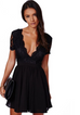Women Sexy Black Deep V-Neck Dress -dresses