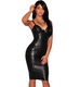 Women Sexy Black Faux Leather Dress -dresses