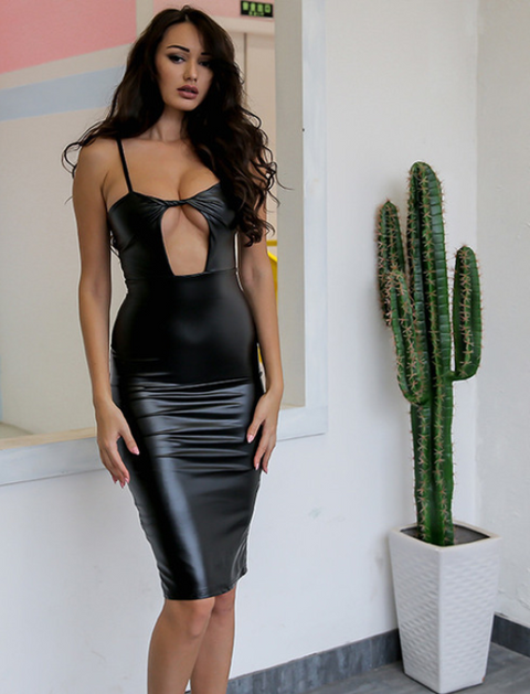 Women Sexy Black Leather Dress -Women Dress