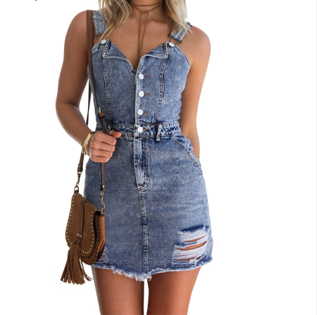 Women Sexy Vintage Denim Dress -Women Dress