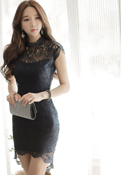 Women Short Petal Sleeve Dress -dresses