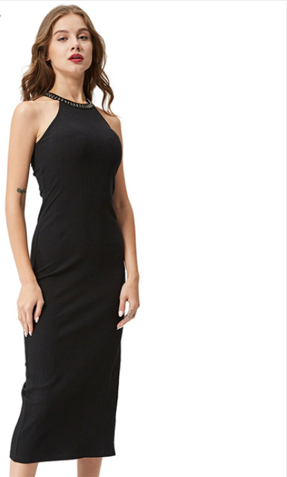 Women Slit Ribbed Dress -dresses
