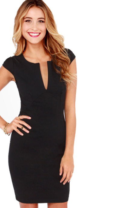 Women V-Neck Office Dress -dresses