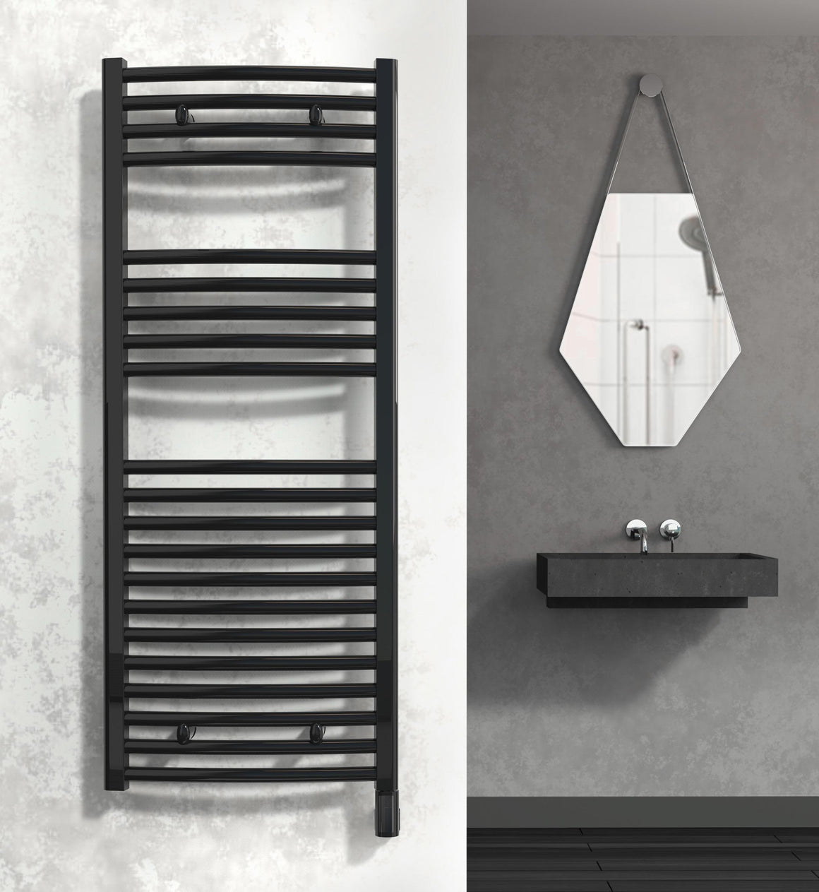 Diva Curved Heated Towel Rail - Electric