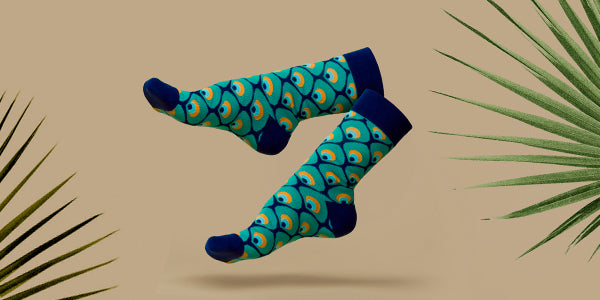 Peacock socks with plant