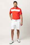 COTTESLOE CHEST STRIPE POLO SHIRT | RED/WHITE
