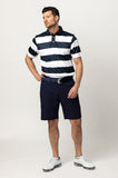 RANCHO RUGBY STRIPE POLO SHIRT | NAVY/WHITE