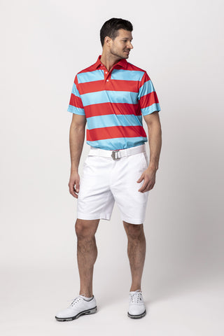 FIFE FEEDER STRIPE POLO SHIRT | RED/WHITE
