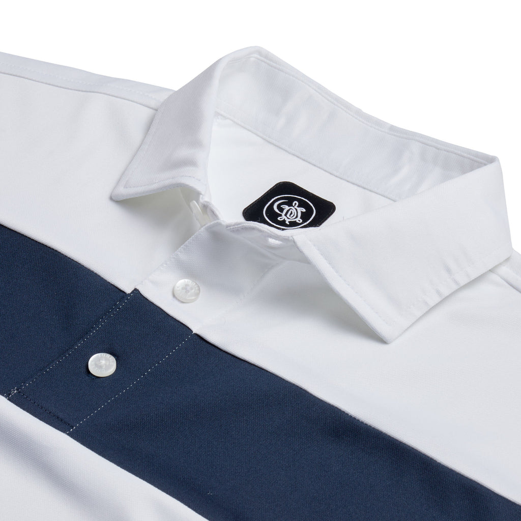 COTTESLOE CHEST STRIPE POLO SHIRT | WHITE/NAVY