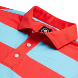 RANCHO RUGBY STRIPE POLO SHIRT | RED/BAHAMA BLUE