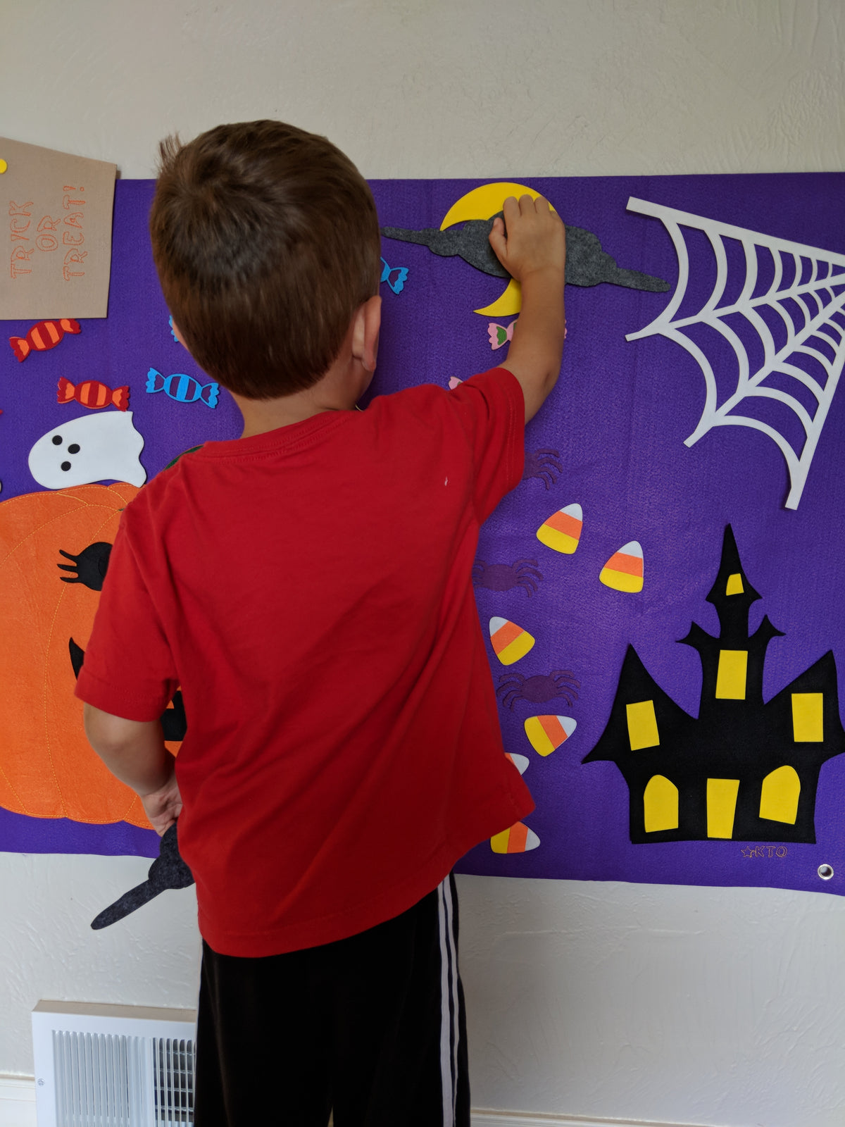 Halloween Jack O'Lantern Pumpkin Interactive Wall Felt - Preschool Educational Supply - KTOriginals