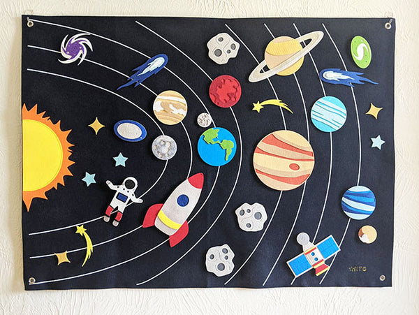 Solar System Interactive Wall Felt - Preschool Educational Supply - KTOriginals