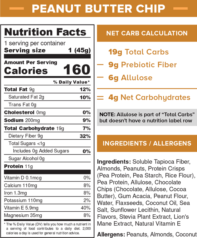 Peanut Butter Chip Nutritional Information