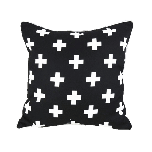 Black Cross Pillow Cover  -  Tiny Cupids