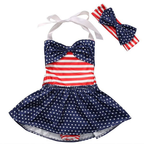 American Polka Dot Swimsuit Set  -  Tiny Cupids