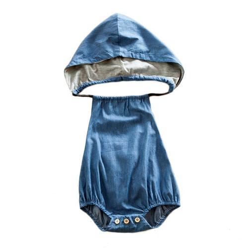 Tiny Cool Denim Hooded Romper