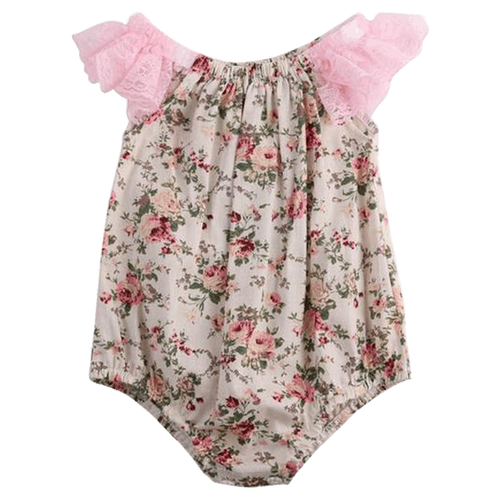 Floral & Lace Romper  -  Tiny Cupids