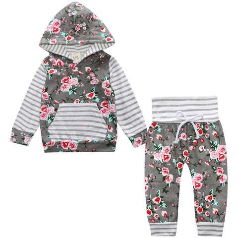 Floral Striped Hooded Clothing Set