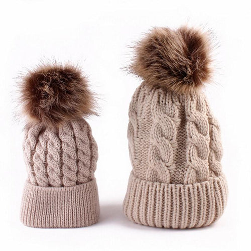 Knitted Hat with Fur Pom - Family Matching