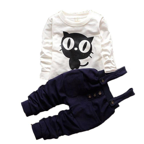 Owl Long Sleeved T-shirts Tops + Overalls Pants