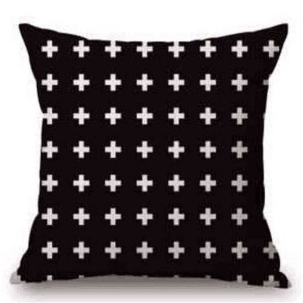 Black &  White Cross Pillow Cover.  -  Tiny Cupids