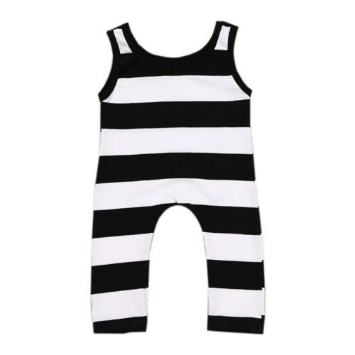 Black&White Striped Short Sleeves Jumpsuit  -  Tiny Cupids