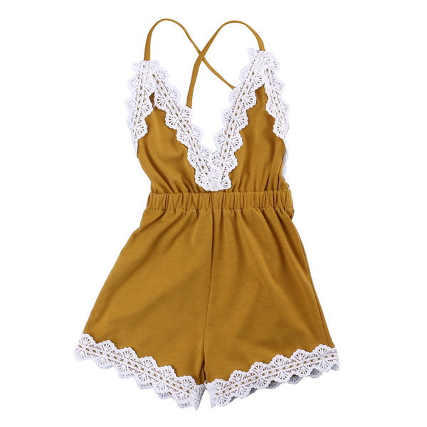 Mustard Yellow Sleeveless Lace Romper