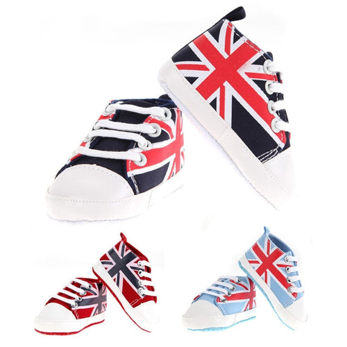 UK Flag Baby Shoes.  -  Tiny Cupids