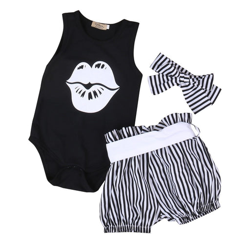 3PCS Baby Girl Lips Bodysuit Set  -  Tiny Cupids