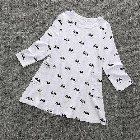 Printed Mouse Long Sleeves Dress
