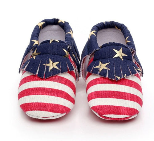 American Flag Moccasins  -  Tiny Cupids
