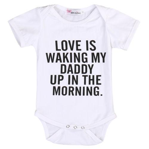 """Love is Waking My Daddy up in the Morning"" Bodysuit  -  Tiny Cupids"