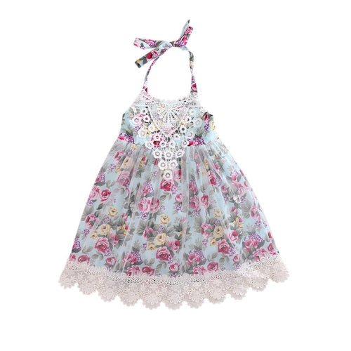 Girls Lace Floral & Tulle Party Dress.  -  Tiny Cupids