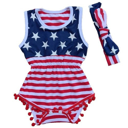4th of july Romper Set  -  Tiny Cupids