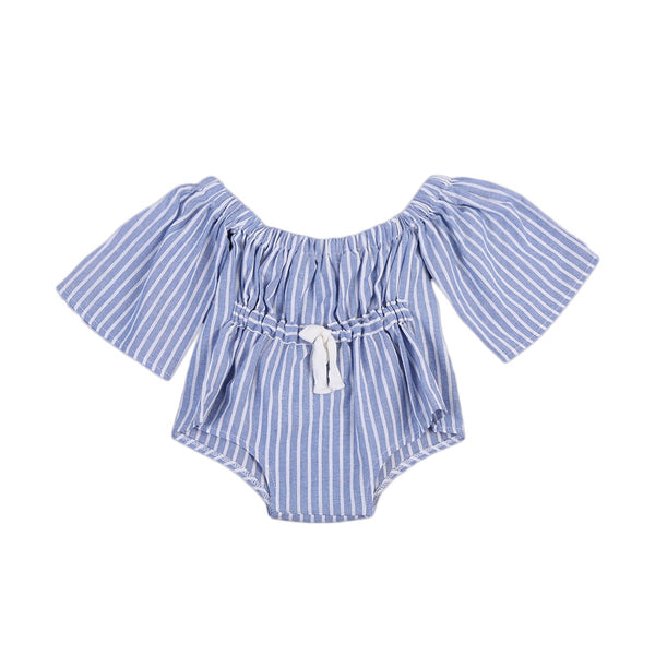 Girls Blue Striped Jumpsuit