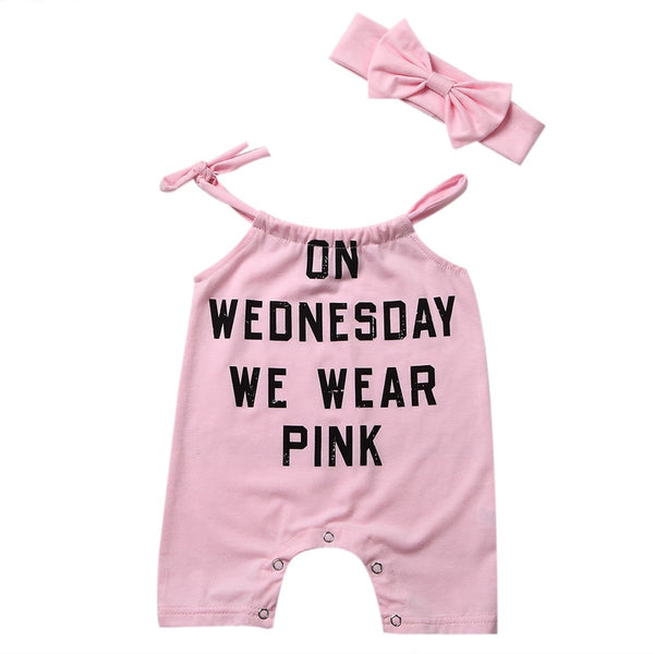 On Wednesday We Wear Pink Romper  -  Tiny Cupids