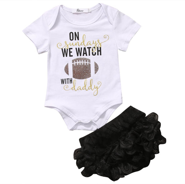 'On Sundays we Watch Football with Daddy' Outfit  -  Tiny Cupids