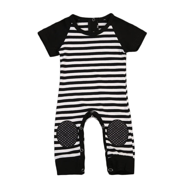 Striped Kneecap Stitched Patchwork Jumpsuit=Rosa  -  Tiny Cupids