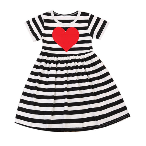 Casual Heart Striped Dress  -  Tiny Cupids