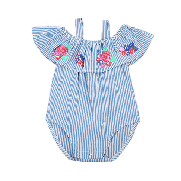 Girls Roses Striped Romper