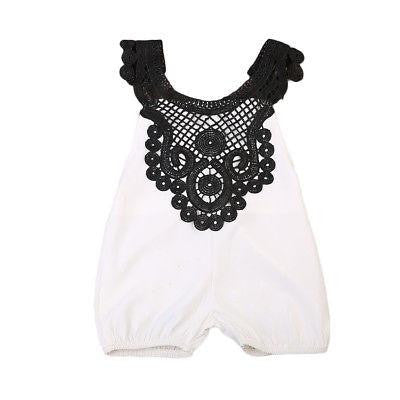 Black & White Lace Jumpsuit  -  Tiny Cupids