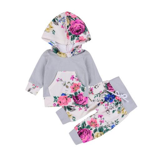 Winter Grey & Floral Hooded Clothing Set  -  Tiny Cupids